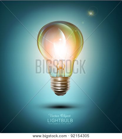 vector  lightbulb on a blue background