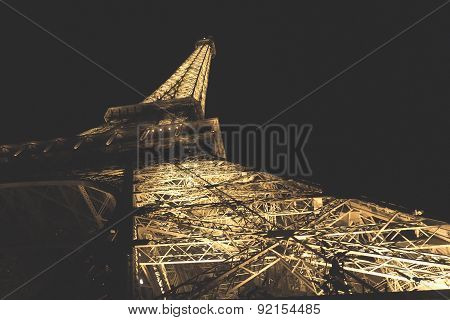 Paris, France - Circa September 2012: A Night Photograph Of The Tour Eiffel Taking Underneath The St