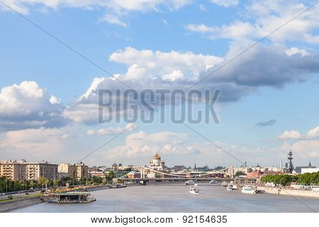 Moscow City With Crimean Bridge And Moskva River