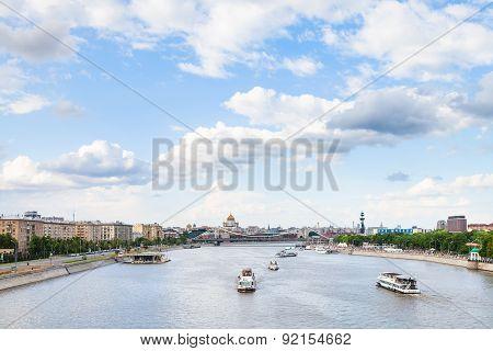 Excursion Ship In Moskva River Near Krymsky Bridge