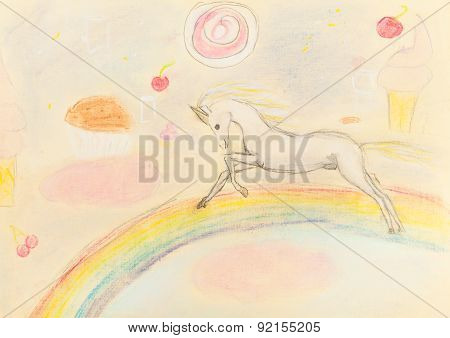 Children Drawing - Fairy Unicorn On Rainbow