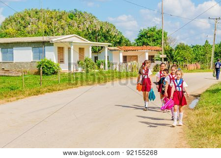 Children in school uniforms, Vinales, Cuba