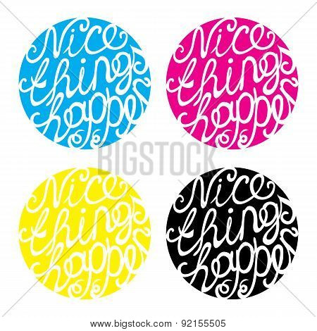 Lettering element in four colors