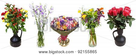 Set Of Bunches Of Flowers In Vases Isolated