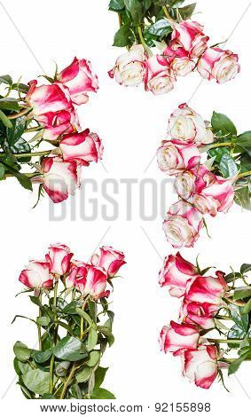 Set Of Pink Rose Bouquets Isolated On White