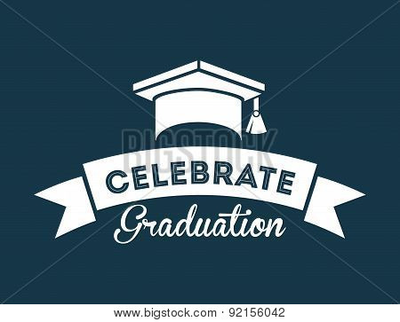 graduation design over blue background vector illustration