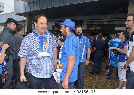 Football Players From Real Oviedo On Arrival At Asturias Airport