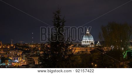 Landscape Of San Peter And Rome By Night