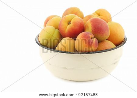 Fresh colorful apricots in an enamel bowl on a white background