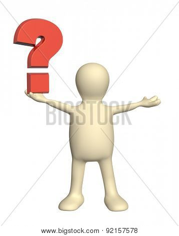 3d puppet with question mark. Isolated on white background