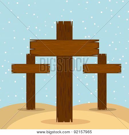 cross design over blue background vector illustration