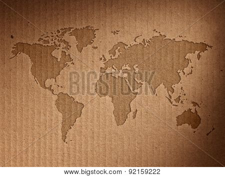 World map shows the corrugated cardboard.Close up