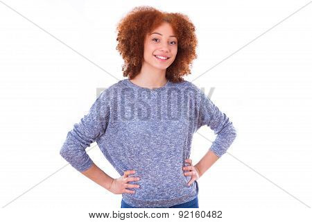 Young Hispanic Teenage Girl Isolated On White Background