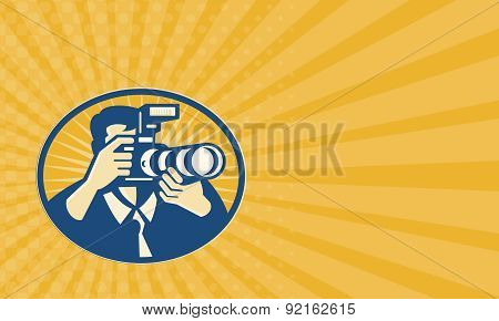 Business Card Photographer Dslr Camera Shooting Retro