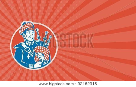 Business Card Scotsman Scottish Bagpiper Retro