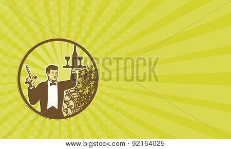 Business Card Waiter Serving Wine Grapes Barrel Retro