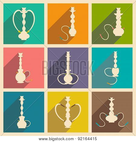 Flat with shadow concept and mobile application hookah shisha