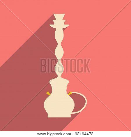 Flat with shadow icon and mobile application hookah shisha