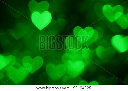 green heart shape holiday photo as background