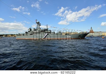 ST. PETERSBURG, RUSSIA - MAY 9, 2015: Large landing craft Korolev during the naval parade dedicated to the Victory Day. This is the first naval parade included in the city's Victory Day celebrations