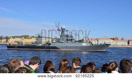 ST. PETERSBURG, RUSSIA - MAY 9, 2015: People look at the small anti-submarine ship Urengoy during the naval parade dedicated to the WWII Victory Day