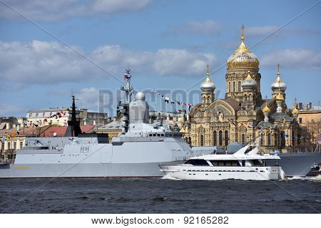 ST. PETERSBURG, RUSSIA - MAY 9, 2015: Flagship boat Burevestnik and the corvette Stoykiy after the naval parade dedicated to the WWII Victory Day