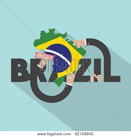 Brasilia The Capital City Of Brazil Typography Design.