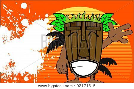 happy tiki hawaiian mask cartoon summer background