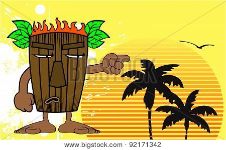 grumpy tiki hawaiian mask cartoon summer background