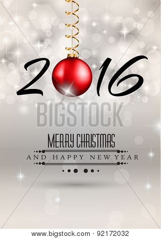 2016 Merry Chrstmas and Happy New Year Background for your dinner invitations, festive posters, restaurant menu cover, book cover or promotional depliant