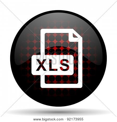 xls file red glossy web icon