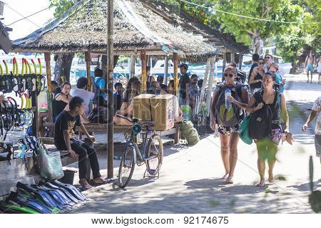 GILI ISLANDS INDONESIA - MARCH 22: Gili islands are small tropical islands between Lombok and Bali.