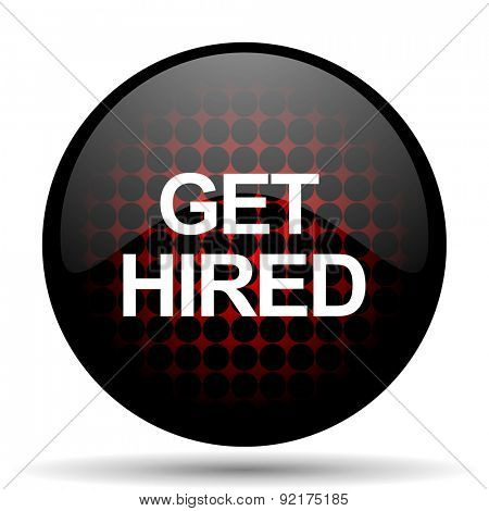 get hired red glossy web icon
