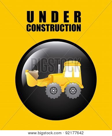 under construction design over yellow background vector illustra