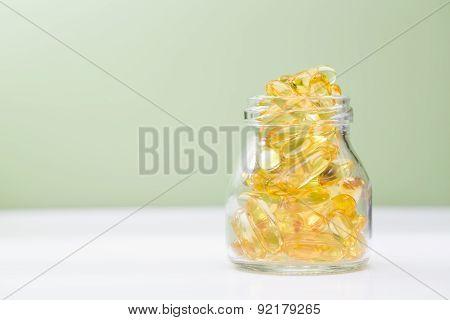 Fish Oil In A Glass Bottle