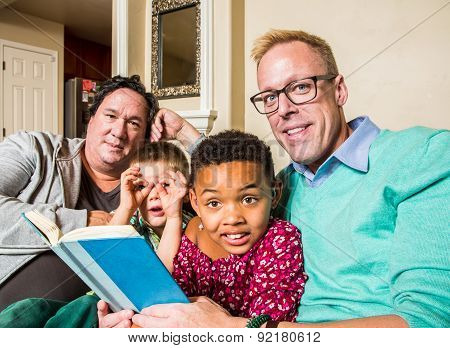Gay Family Reading Together