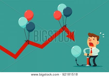 Businessman Pumping Balloon To Help Falling Graph