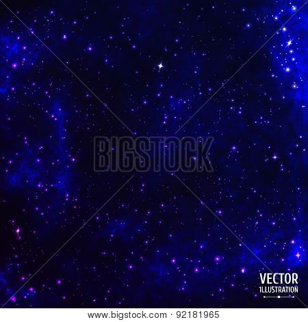 Colorful Cosmic Space Galaxy Background with Light, Shining Stars, Stardust and Nebula. Vector Illus