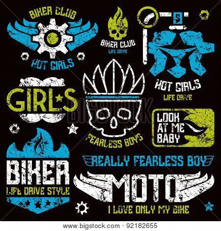 Car And Biker Masculine Badges