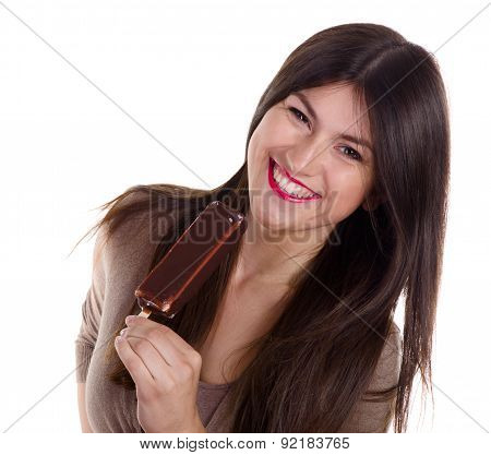 Smiling Girl Eating Ice Cream