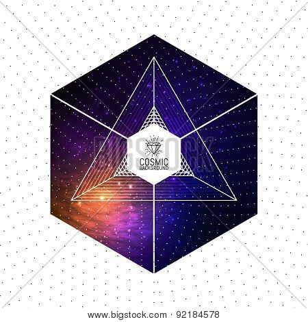 Hipster triangular colorful cosmic background with Light, Shining Stars, Stardust and Nebula. Vector
