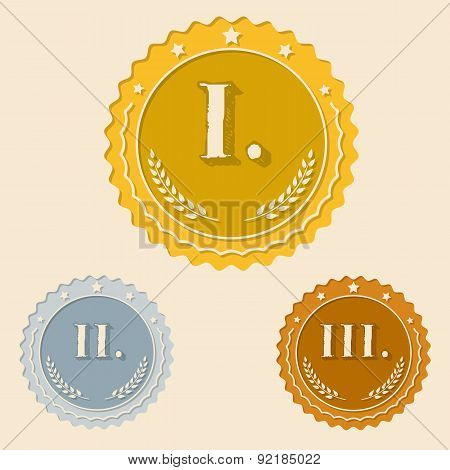 Various Awards With Roman Numbers Flat Icons