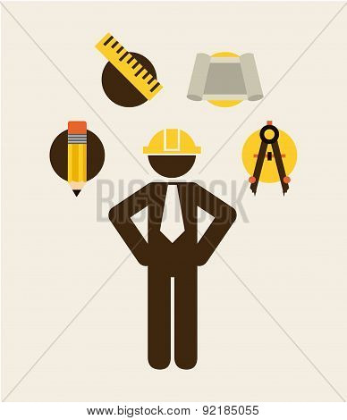 under construction design over white background vector illustrat