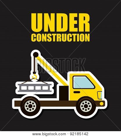 under construction design over balck background vector illustrat
