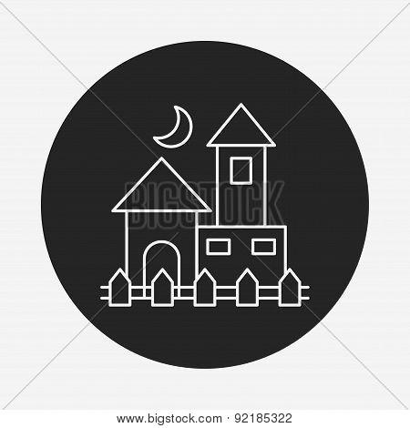 Halloween Castle Line Icon