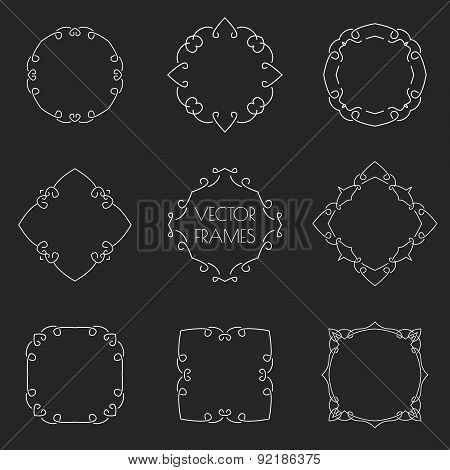 Set of thin outline vintage frames on chalkboard. Vector illustration.