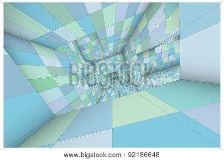 3D Futuristic Labyrinth Green Blue Shaded Vector Interior Illustration