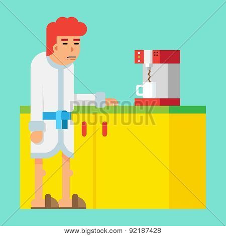 Waiting Morning Coffee Machine Male Sleepy Character Icon Flat Design on Stylish Background Template