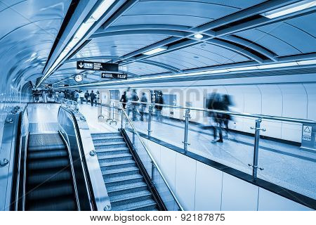 Subway Passage With Commuters Motion Blur
