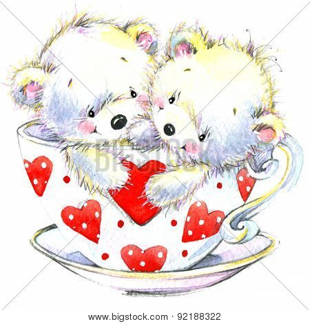 Valentine day. Cute White bear and red heart